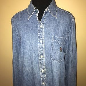 Tommy Hilfiger Blue Denim Long Sleeved Shirt Sz 12